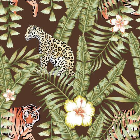 熱帯の組成は、美しい花ハイビスカス、フランジパニ野生動物ヒョウそしてトラを葉します。茶色の背景にシームレスな壁紙パターン