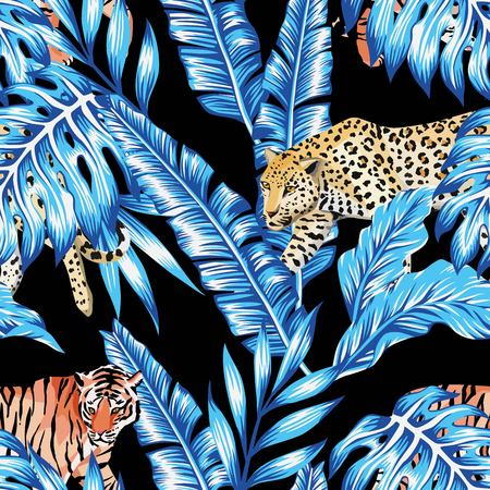 Seamless composition of tropical leaves in trendy blue color with animal tiger and a leopard on a black background. Pattern wallpaper vector Vectores