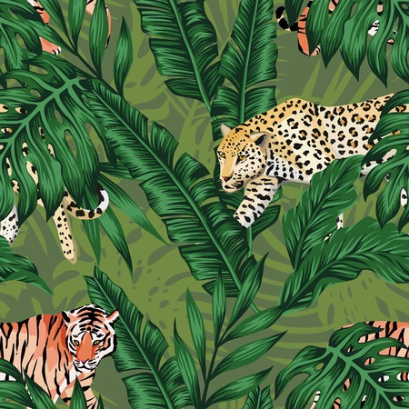 Seamless composition of tropical leaves in natural color with animal tiger and a leopard on a green background. Pattern wallpaper vector Vettoriali