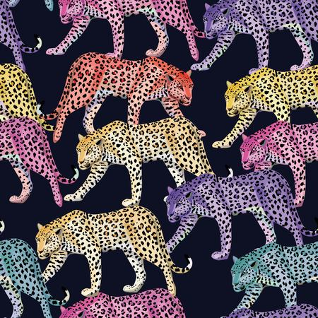 Seamless composition of multicolor wild animals leopards on a dark blue background. Fashion pattern wallpaper