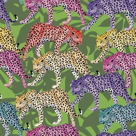 Seamless composition of multicolor wild animals leopards on a green leaves background. Fashion pattern wallpaper Illustration
