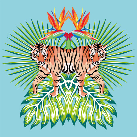 Trendy mirror composition of tropical leaves, flowers and wild animal tiger made in the style safari beach. Excellent vector illustration