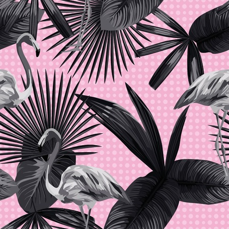 Seamless composition of beautiful flamingo birds, tropical plants and flowers on a black white trendy style circles background. Vector illustration pattern wallpaper Vettoriali