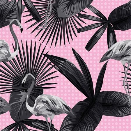 Naadloze samenstelling van prachtige flamingo vogels, tropische planten en bloemen op een zwarte witte trendy stijl cirkels achtergrond. Vector illustratie patroon behang Stock Illustratie