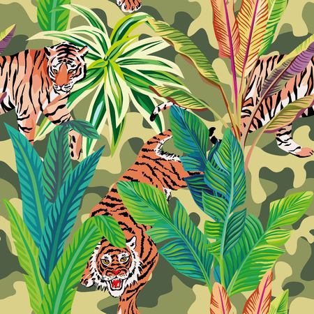 Seamless composition of the wild predatory animals tiger in the tropical jungle. Vector illustration of a print pattern wallpaper military khaki background Illustration
