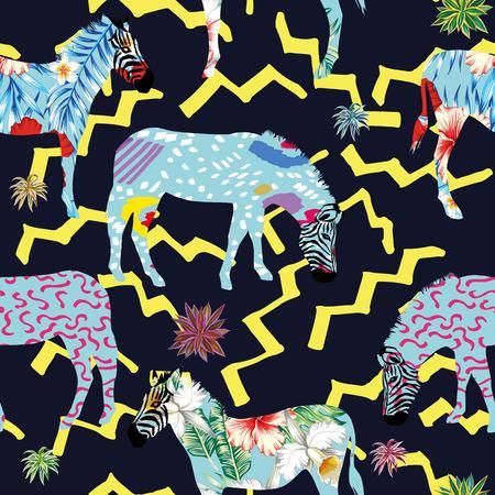 노란색 지그재그 라인 어두운 파란색 배경에 식물 추상 얼룩 동물 얼룩말의 조성. 언리얼 아름다운 원활한 패턴 열대 벡터 벽지