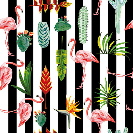 systematic ordered tropical green leaves, flowers, cactus and pink flamingo on black white striped background. Seamless vector wallpaper pattern