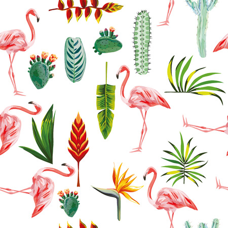 systematic ordered tropical green leaves, flowers, cactus and pink flamingo on white background. Seamless vector wallpaper pattern