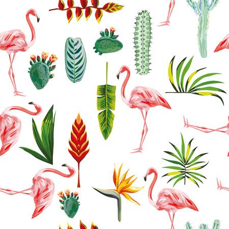 systematische bestelde tropische groene bladeren, bloemen, cactussen en roze flamingo op een witte achtergrond. Naadloos vector behang patroon Stock Illustratie