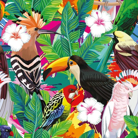 Seamless a composition of tropical bird toucan, parrot, hoopoe and palm leaves with white hibiscus flowers on multicolor background painted with a brush