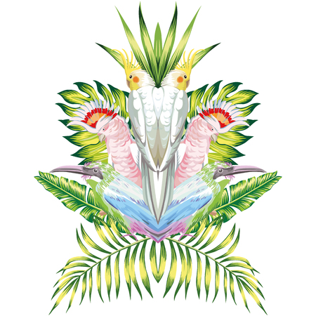 Composition of symmetrical tropical bird parrots and green leaf plants on a white background. Vector Wallpapers 免版税图像 - 74794882