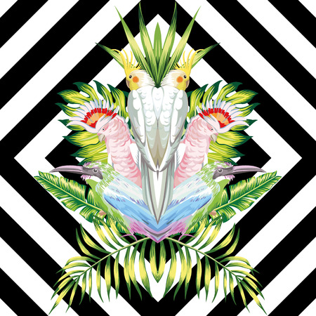 Seamless vector composition of tropical birds and green foliage in a reflected style on a black and white geometric background Ilustração