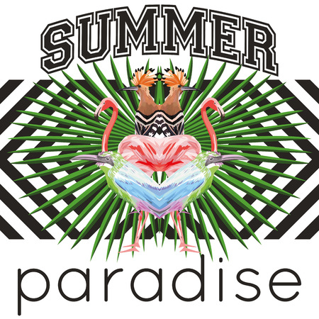 Vector composition of tropical birds in a reflected style, fashion slogan summer paradise on a black and white geometric background