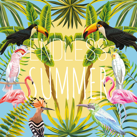 Slogan endless summer on a background of tropical birds  toucan, parrot, hoopoe, pink flamingo banana palms and leaves sun sky. Warm summer day vector