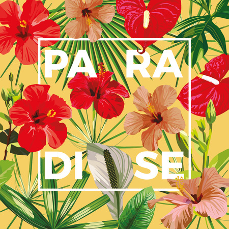 Motto paradise on a background of tropical hibiscus flowers and leaves. Yellow backdrop vector cool wallpaper