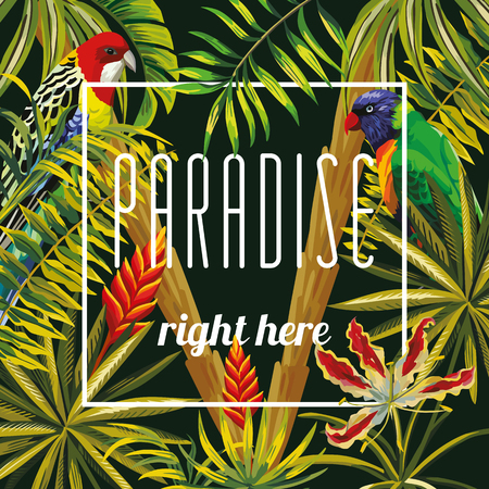 Slogan paradise right here on a background of tropical parrot, flowers, banana palms and leaves. Warm summer night vector wallpaper pattern Illustration