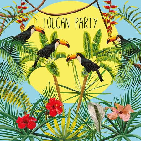 Imagen divertida de un partido de discoteca de los pájaros tropicales toucan en la selva con las flores y las hojas del hibisco. Lema sobre un fondo de cielo soleado Foto de archivo - 75785939