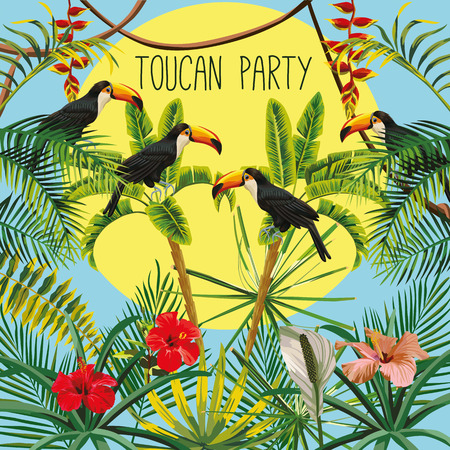 Funny picture of a disco party of tropical birds toucan in the jungle with hibiscus flowers and leaves. Slogan on a sunny sky background Illustration
