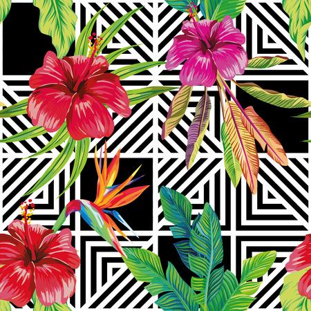 Composición de patrón de vector transparente hecha de flores de hibisco y un ave del paraíso con hojas de plátano tropical sobre un fondo geométrico en blanco y negro