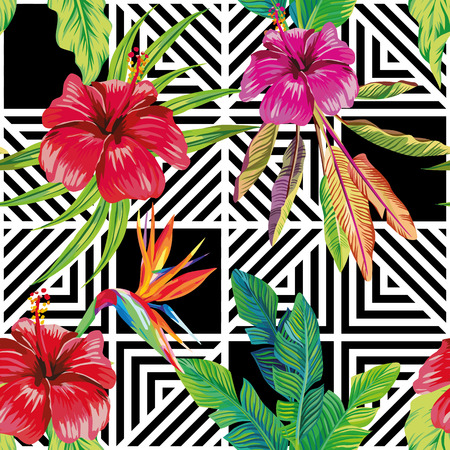 Naadloze vector patroon samenstelling gemaakt van hibiscus bloemen en een paradijsvogel met tropische bananen bladeren op een zwart-witte geometrische achtergrond
