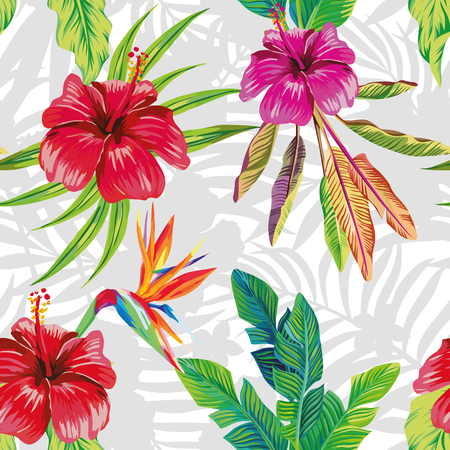 Seamless vector pattern composition made from hibiscus flowers and a bird of paradise with tropical banana leaves on a gray and white foliar background