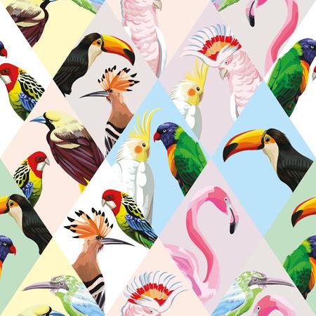 Exotische strand trendy naadloze patroon, patchwork geïllustreerde tropische vogels vector. Stock Illustratie