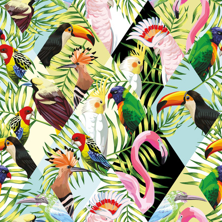 Exotic beach trendy seamless pattern, patchwork illustrated tropical birds vector.