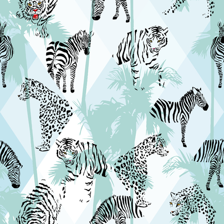 Exotic beach trendy seamless pattern, patchwork illustrated tropical animals vector.