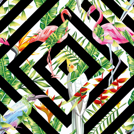 Tropic pattern beach vector bird parrot, pink flamingo seamless tropical leaves flowers exotic black white geometrical background.