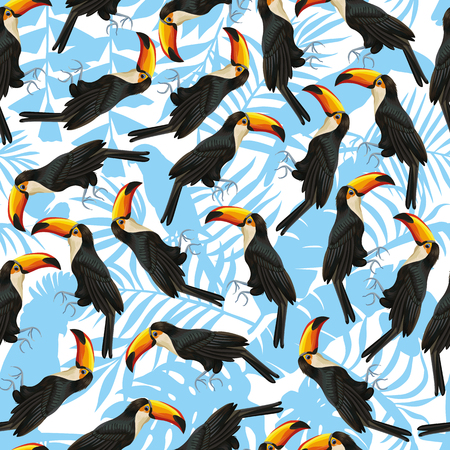 Exotic tropical seamless pattern from vector bird toucan. Illustration