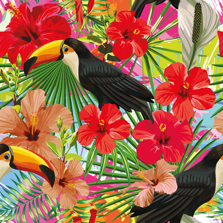 Exotic composition from tropical bird toucan leaves and hibiscus flowers seamless pattern colorful motley background. Иллюстрация