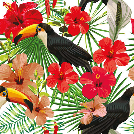 Exotic composition from tropical bird toucan leaves and hibiscus flowers seamless pattern Print jungle vector wallpaper white background.