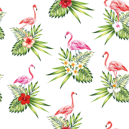 Seamless pattern tropical bird pink flamingo with flowers and plants white backgroundbeach wallpaper Illustration