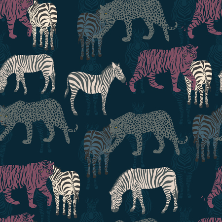 Excellent abstract composition from tropical animals. Wild night jungle leopard, tiger, zebra. Seamless Vector Pattern on a dark blue background