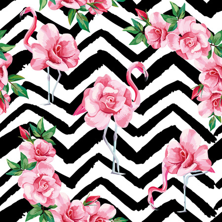 Beach image of a wallpaper with a beautiful tropic pink flamingo and rose flowers. Seamless vector composition on black and white zigzag background Vettoriali
