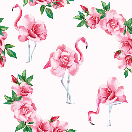 Beach image of a wallpaper with a beautiful tropic pink flamingo and rose flowers. Seamless vector composition on white background