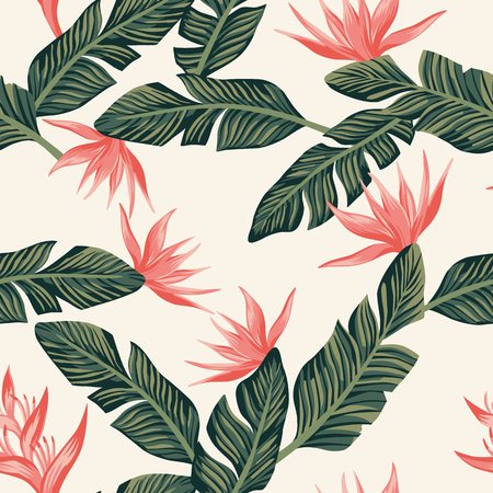 Beach cheerful seamless pattern wallpaper of tropical dark green leaves of palm trees and flowers bird of paradise (strelitzia) on a light yellow background
