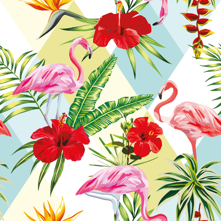 Beach cheerful seamless pattern of wallpaper from tropical green leaves of palm and flowers hibiscus cactus and birds pink flamingo on multicolor patchwork background Иллюстрация