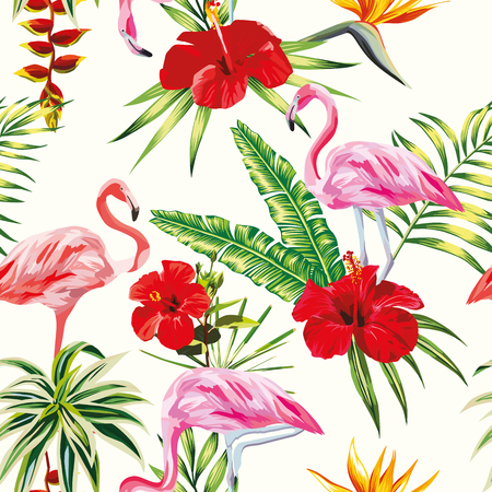 Beach cheerful seamless pattern of wallpaper from tropical green leaves of palm and flowers hibiscus cactus and birds pink flamingo on light yellow background 向量圖像