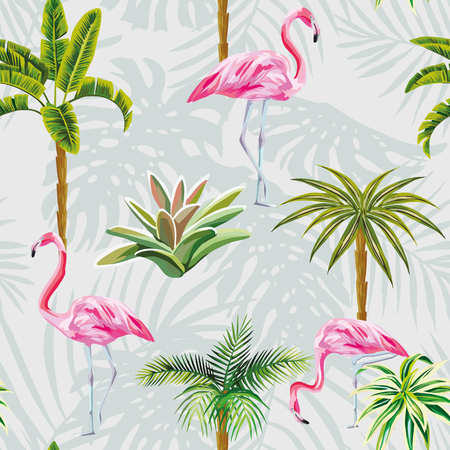 Beautiful tropic birds pink flamingos with palm trees and cactus. Seamless beach pattern wallpaper with leaves on a gray background