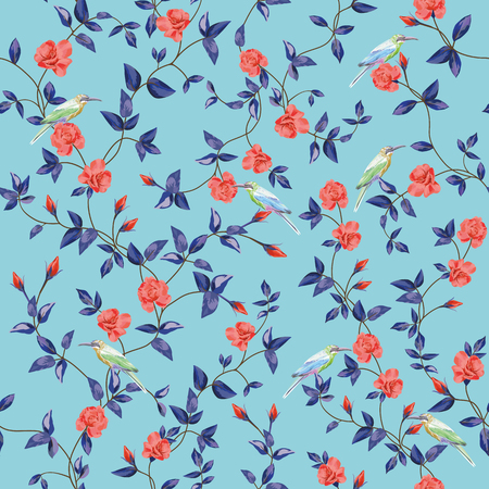 Seamless vector composition of rose flowers and birds with intersect branches of leaves. Floral pattern wallpaper on a blue background