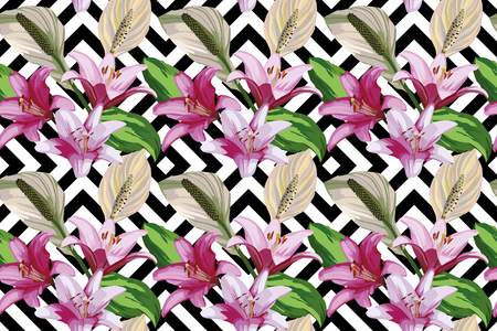 Floral hand drawn composition of beautiful flowers of lily. Seamless wallpaper pattern geometric black white background Ilustracja