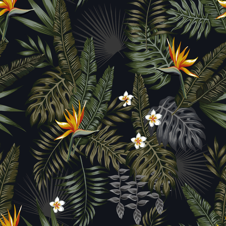 Tropical leaves and flowers in the night style for men's prints. Seamless vector jungle wallpaper pattern black background Stock Illustratie