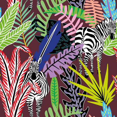 Wild animal zebra in the jungle in colorful abstract cartoon style on the burgundy background. Tropical leaves seamless vector pattern of beach wallpaper Illustration