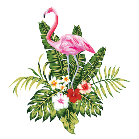 Exotic birds pink flamingo, tropical palm leaves and flowers, jungle beach seamless vector floral pattern wallpaper white background Vettoriali