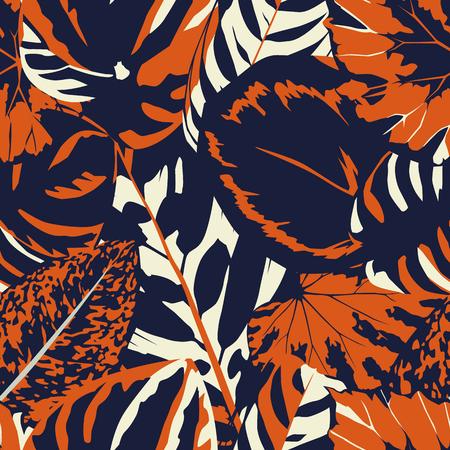 Abstracte vintage samenstelling kleurrijke bladeren naadloze bloemen patroon achtergrond