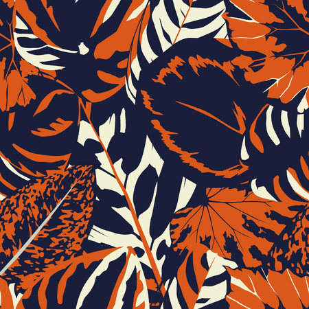 Abstract vintage composition colorful leaves seamless floral pattern background
