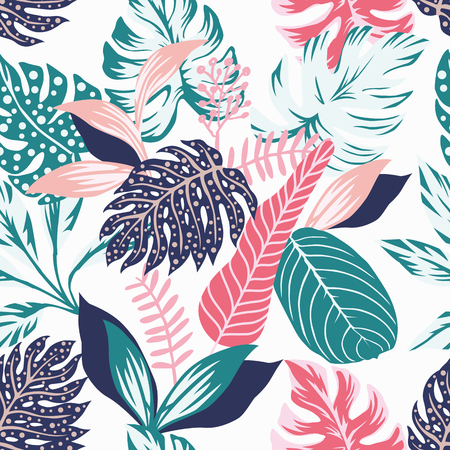 Painted tropical exotic leaves abstract colors in a cartoon style. Seamless vector wallpaper pattern on a white background