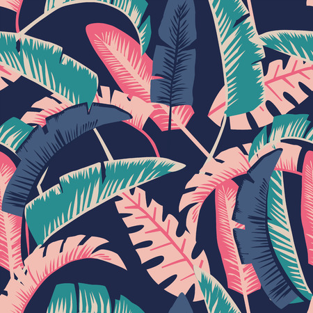 Painted in cartoon style banana leaves. Seamless vector wallpaper pattern on a dark blue background