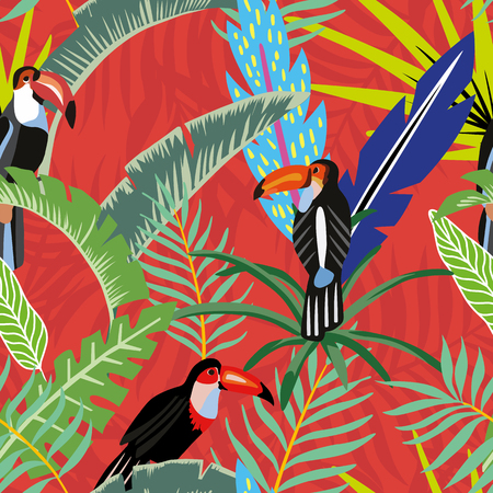 Tropical bird toucan in the jungle on a background of palm leaves in cartoon style. Beach wallpaper seamless pattern on a red orange background Vettoriali
